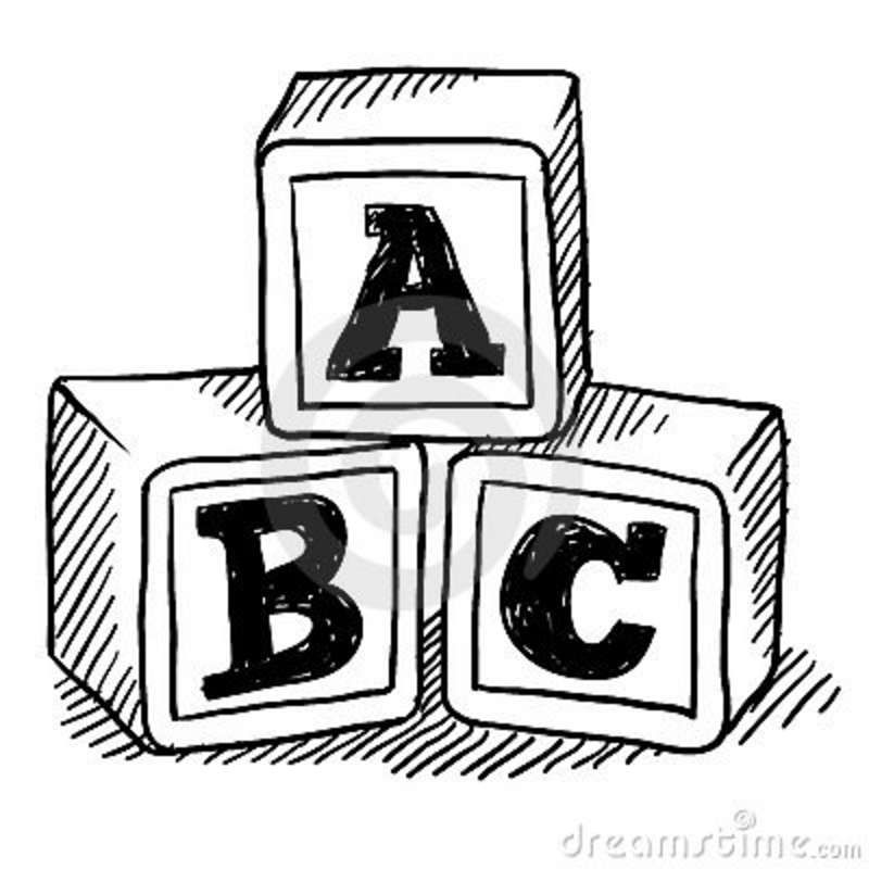 Abc blocks drawing childrens. Block clipart abcd