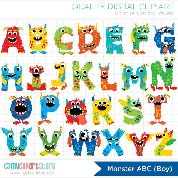 Monster alphabet monograms birthday. Abc clipart cute