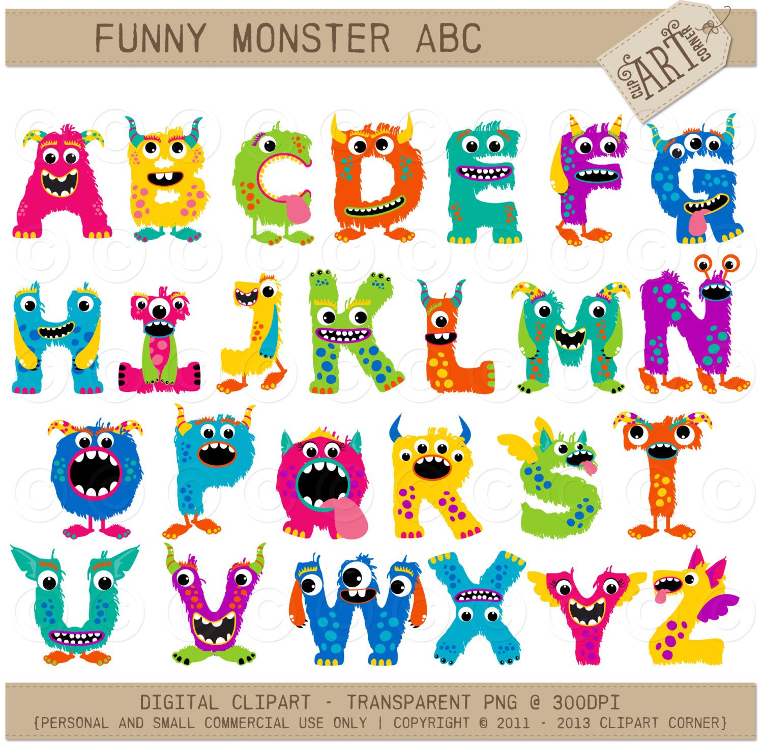 Abc clipart cute. Alpha monster girl letters