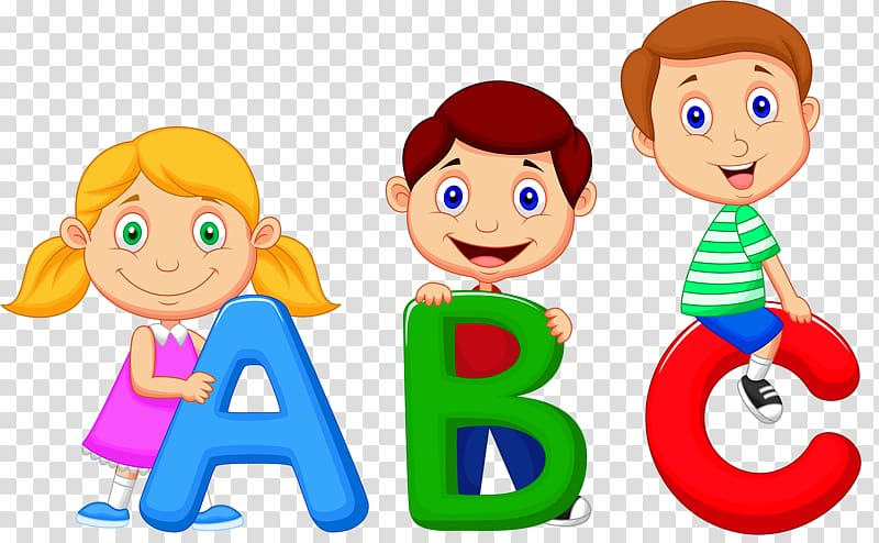 Children holding letters illustration. Abc clipart cute