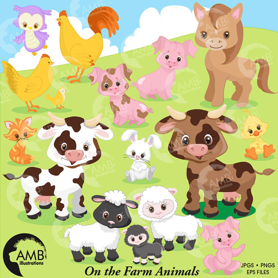 Farm animals digital off. Barn clipart sheep