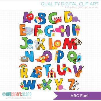Alphabet rainbow colors by. Abc clipart fun