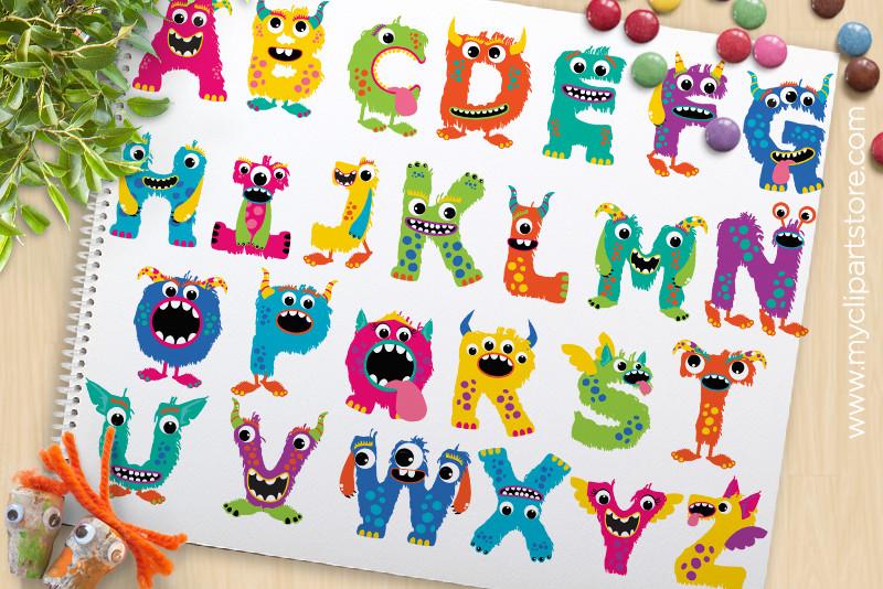 Monster alphabet vector premium. Abc clipart fun