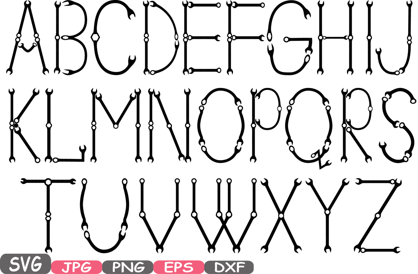 Abc clipart icon. Mechanic tools alphabet svg