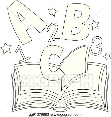 Abc clipart illustration. Vector outlined and on