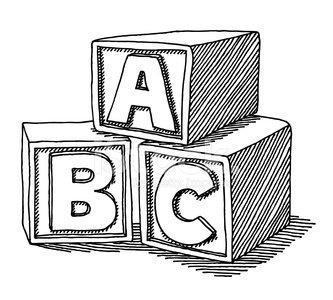 Education blocks stock vectors. Abc clipart line drawing