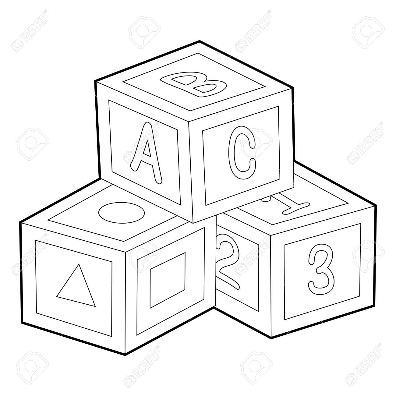 Blocks at getdrawings com. Abc clipart line drawing