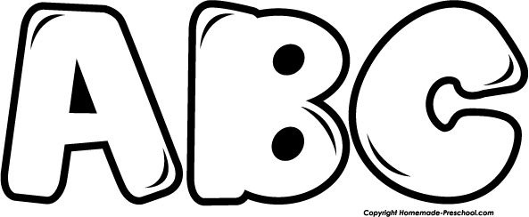 Black and white letters. Abc clipart line drawing