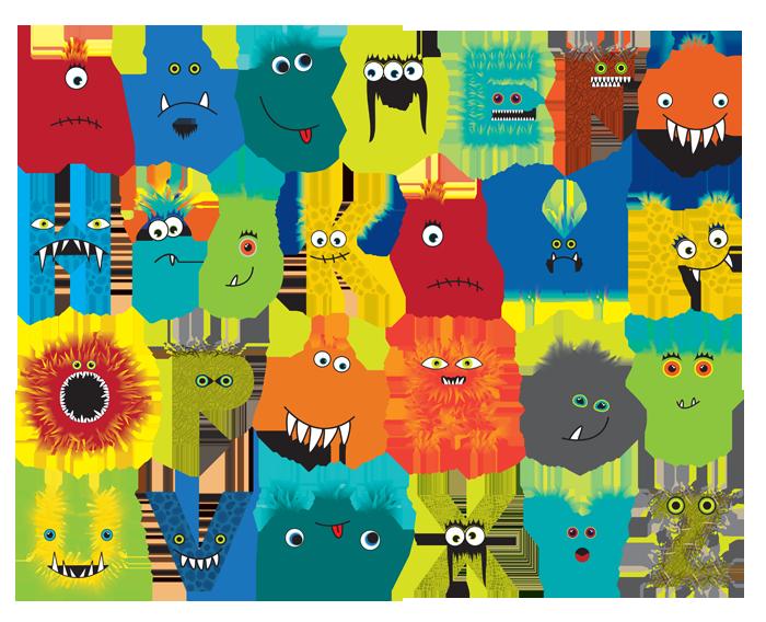 Monster clipart alphabet. Custom designed for psychobaby