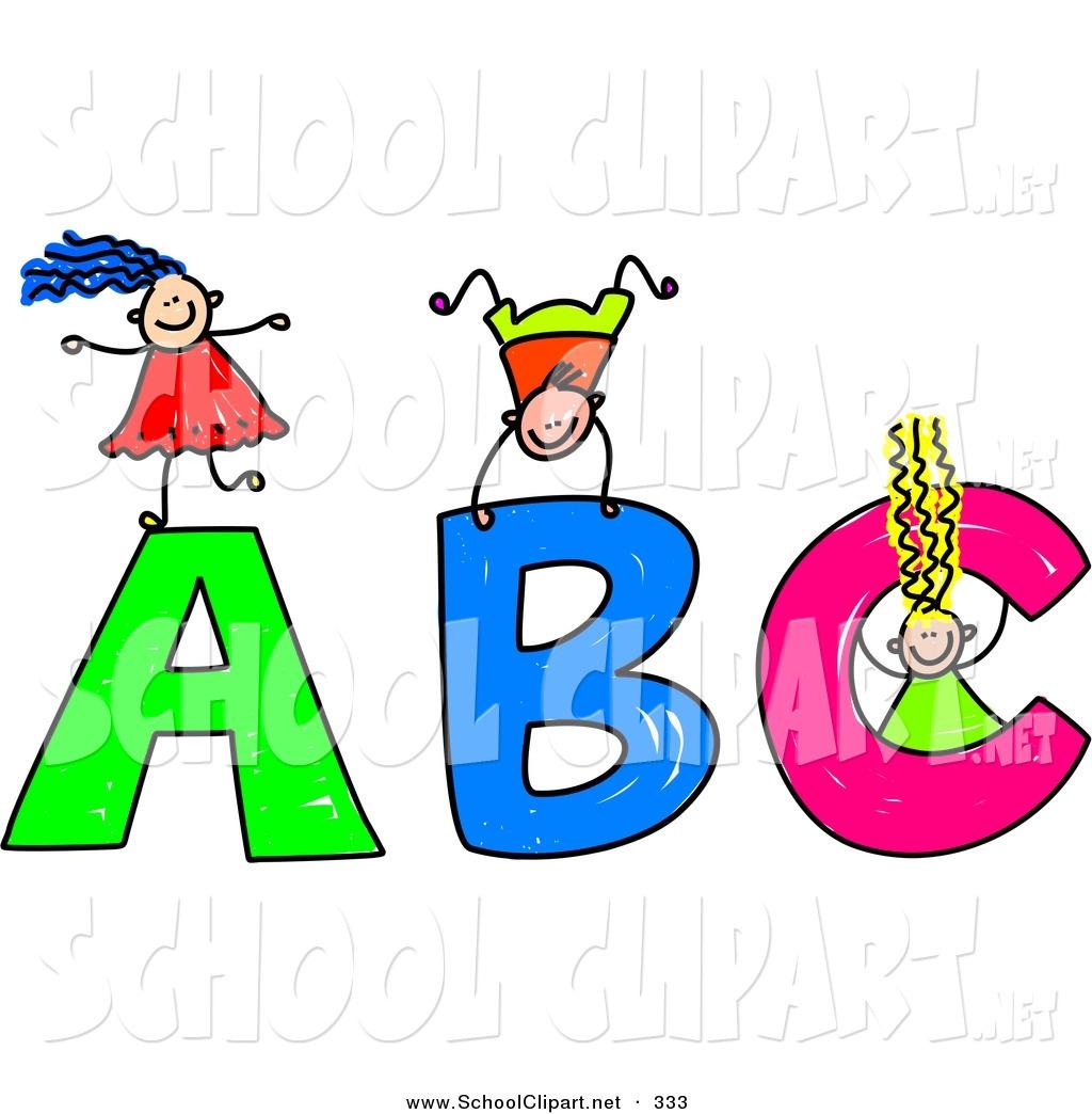 Preschool children black and. Abc clipart nursery school