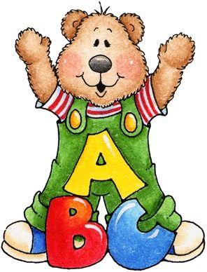 Decpoupage teddy bear teacher. Abc clipart nursery school