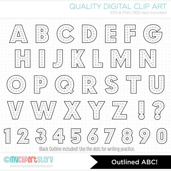 Alpha rainbow dot alphabet. Abc clipart outline