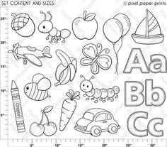 Alphabet digital stamps part. Abc clipart outline