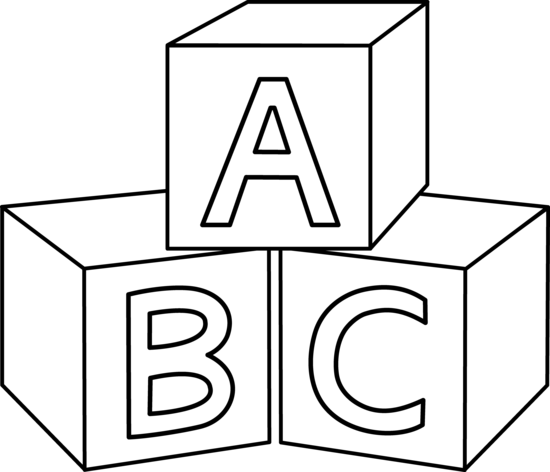 Abc clipart outline. Colorable blocks baby embroidery