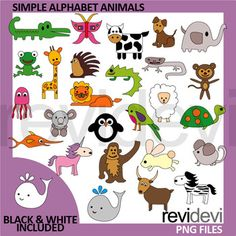 Animal alphabet clip art. Animals clipart simple