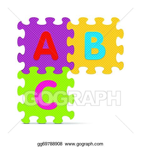Abc clipart puzzle. Eps illustration written with