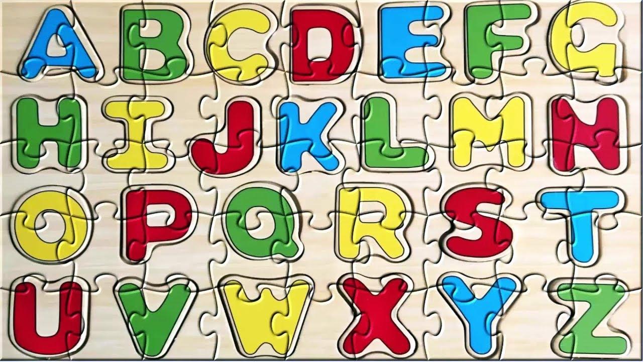 Learning alphabet preschool kindergarten. Abc clipart puzzle