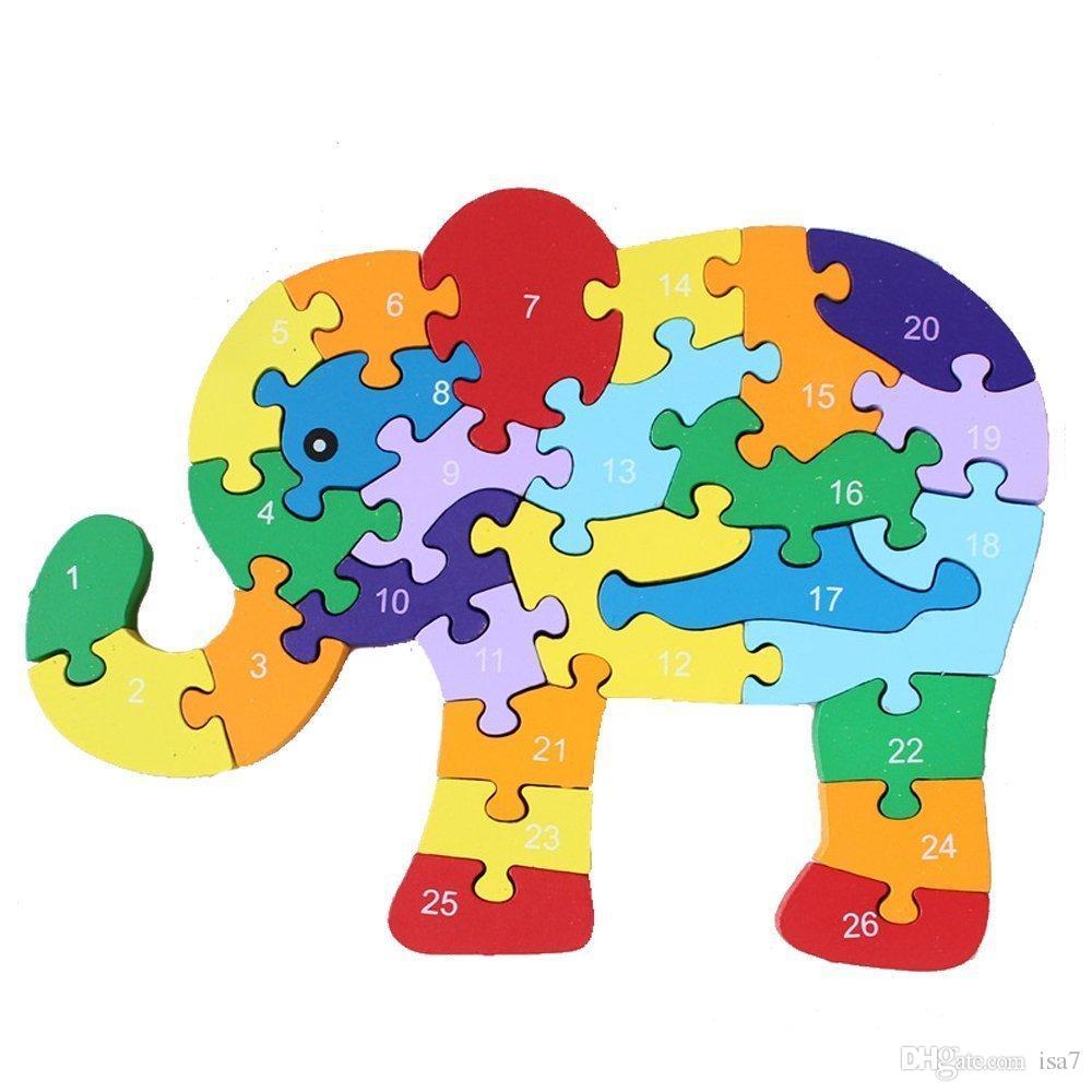 Abc clipart puzzle.  wooden elphant educational