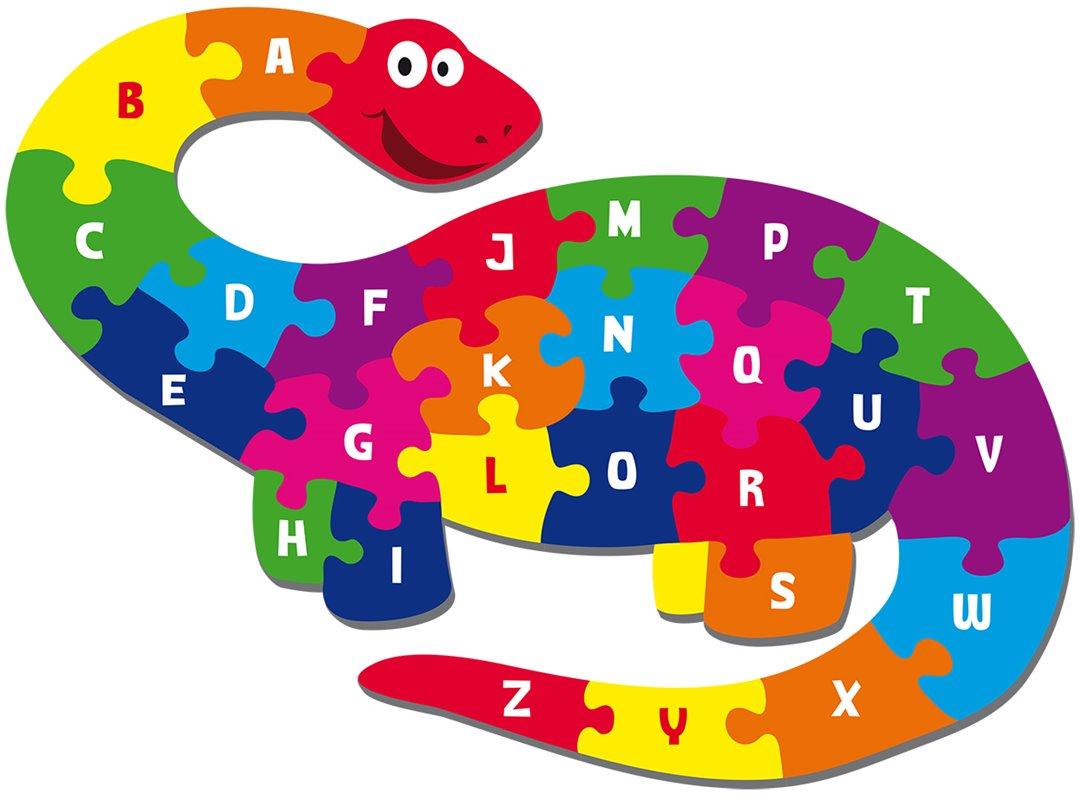 Abc clipart puzzle. Giant dinosaur piece shaped
