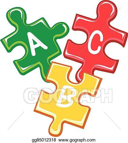 Clip art vector pieces. Abc clipart puzzle
