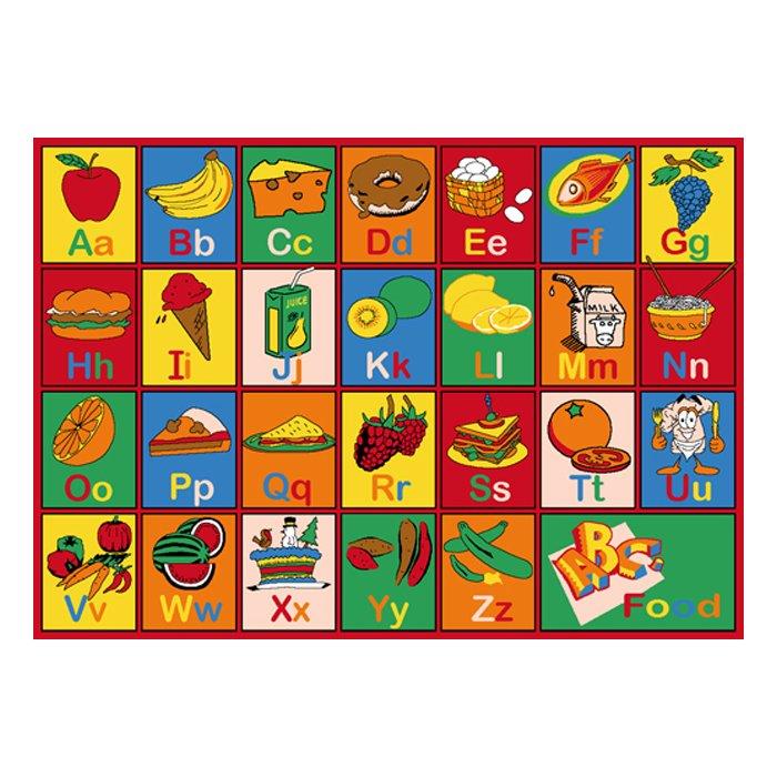 Carpet clipart alphabet. Abc food area rug