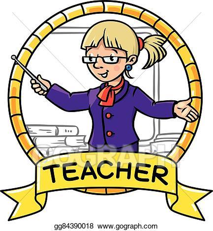 Eps illustration funny emblem. Abc clipart teacher