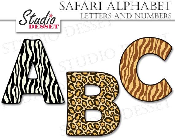 Alphabet cliparts safari letters. Abc clipart uppercase letter
