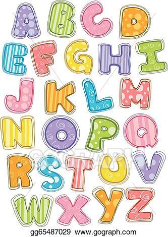 Alphabet clipart uppercase letter. Vector illustration cute capital