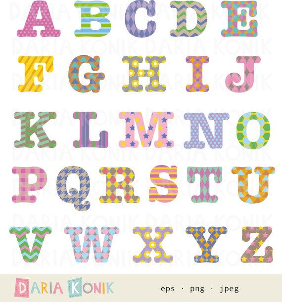 Patterned alphabet clip art. Abc clipart uppercase letter