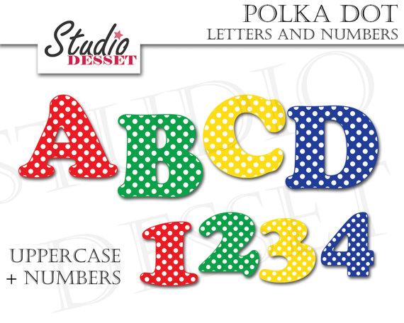 Polka dot letters alphabet. Abc clipart uppercase letter