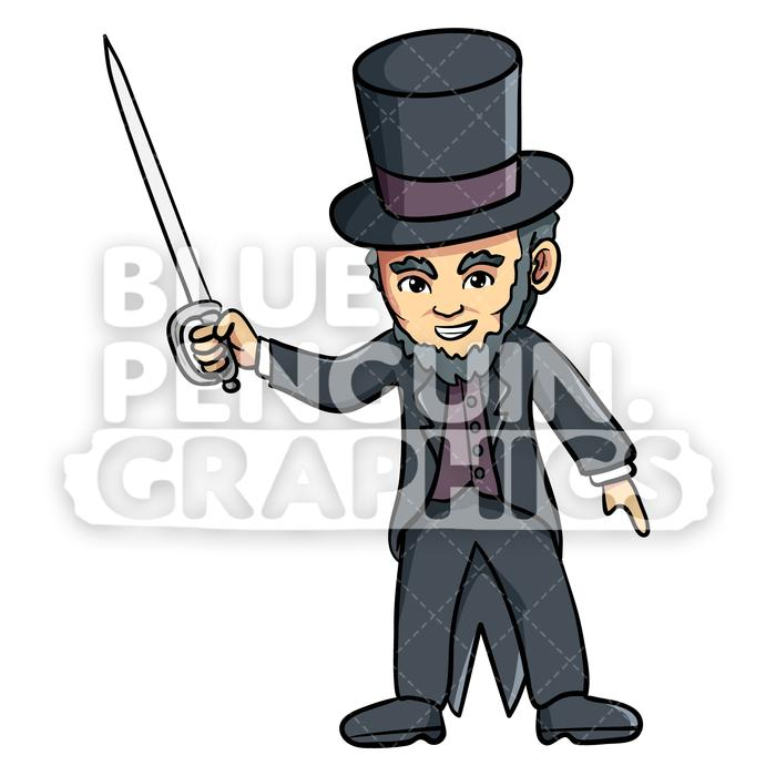 With a sword vector. Abraham lincoln clipart animated