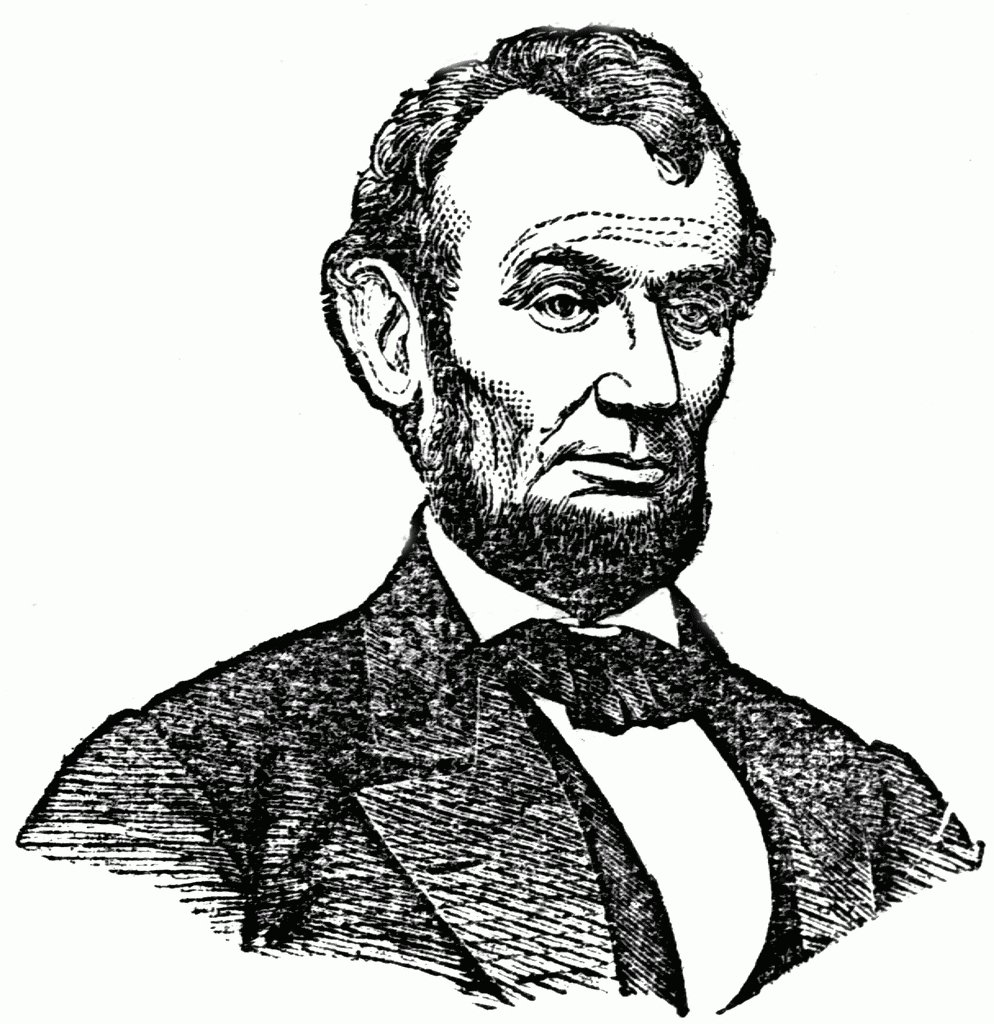 Letters throughout . Abraham lincoln clipart black and white