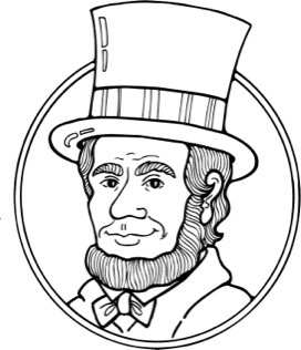 Abraham lincoln clipart black and white. Letters inside