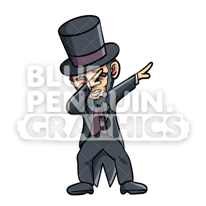 Abraham lincoln clipart cute. Abe dabbing vector cartoon