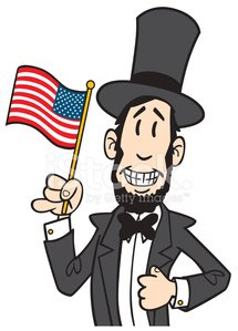 Abraham lincoln clipart cute. Abe holding american flag
