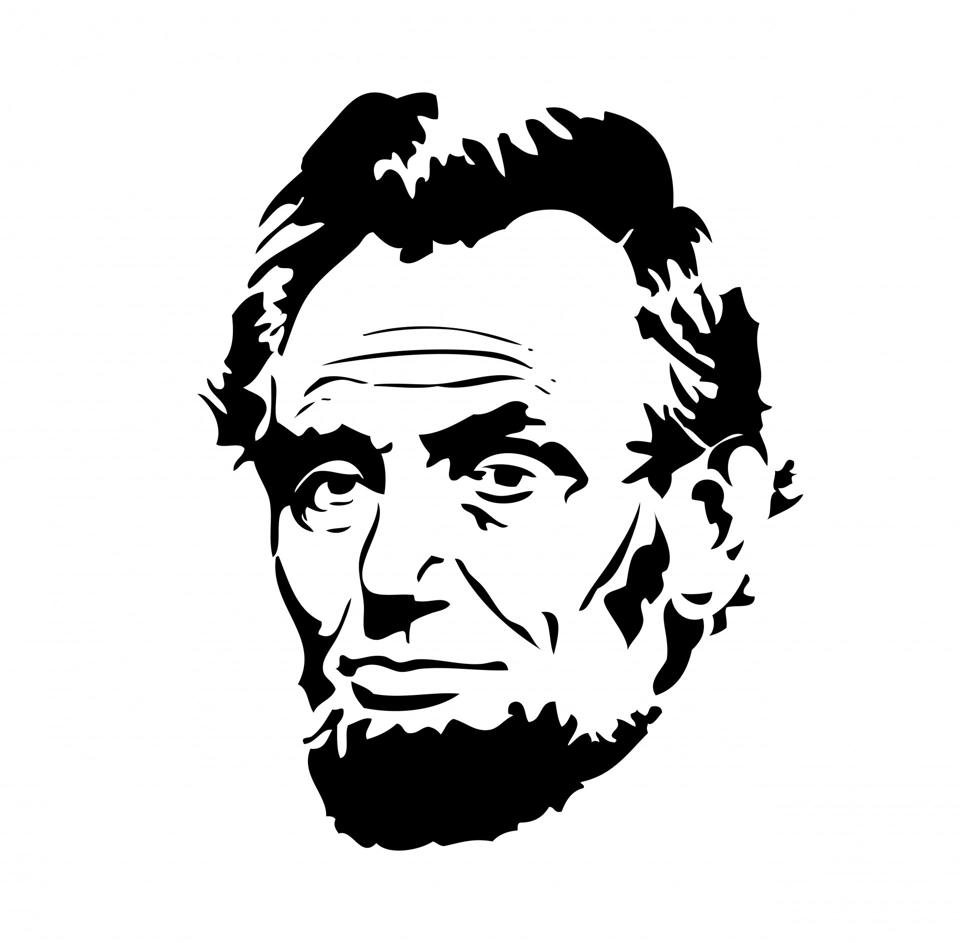 Abraham lincoln clipart easy. Black and white letters