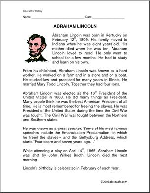 Abraham lincoln clipart fact. Biography of facts and