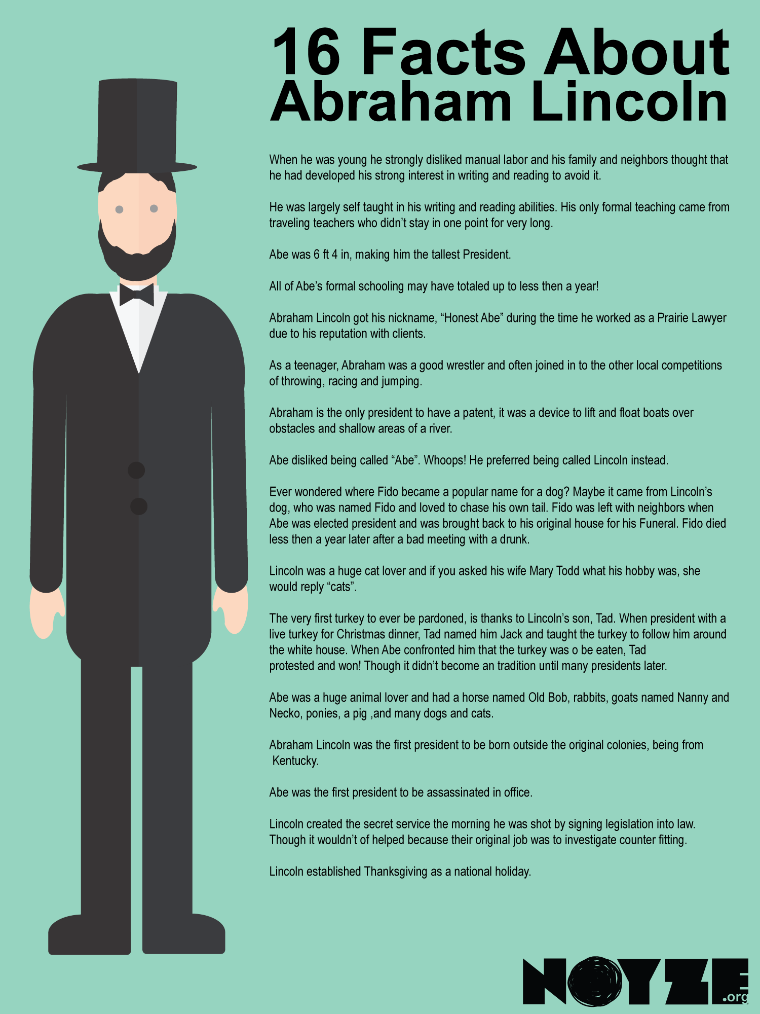 facts about noyze. Abraham lincoln clipart fact