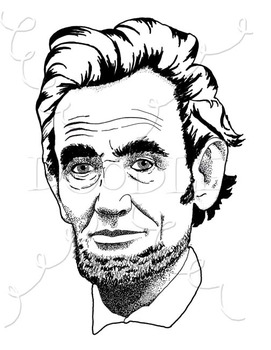 Realistic image . Abraham lincoln clipart line