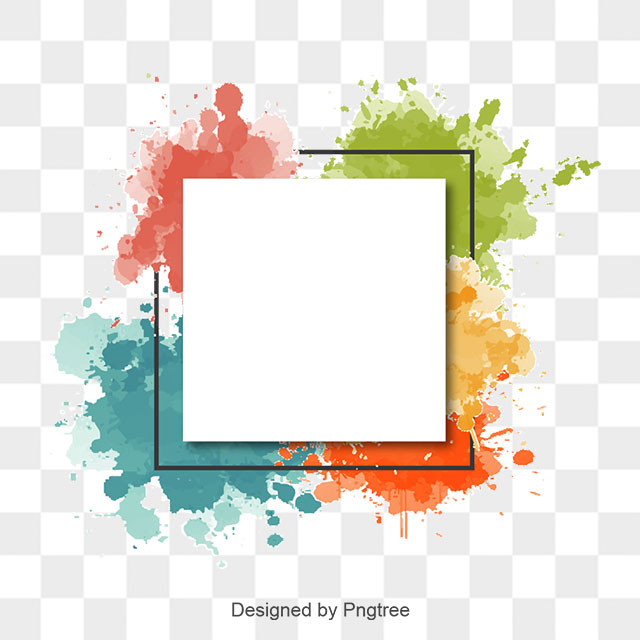 Watercolor splash frame and. Abstract border png