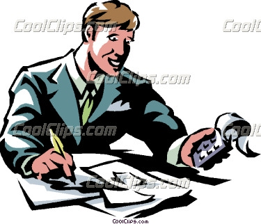Vector clip art. Accountant clipart accounting office