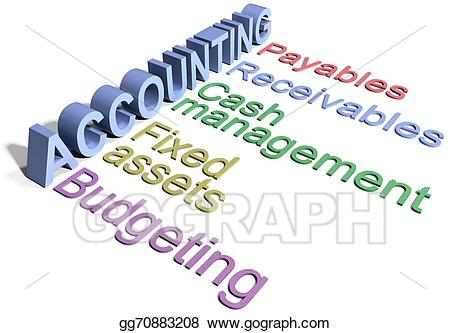 Stock illustration corporate accounting. Words clipart business
