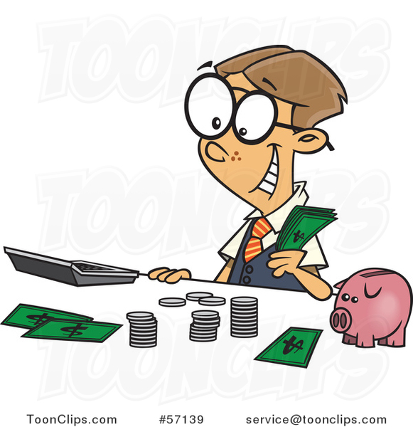 Cartoon young white boy. Accountant clipart bank accountant
