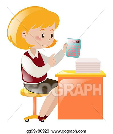Vector illustration working on. Accountant clipart desk