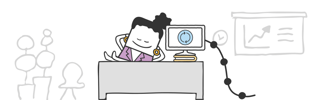 Accounting integration software sync. Accountant clipart desk