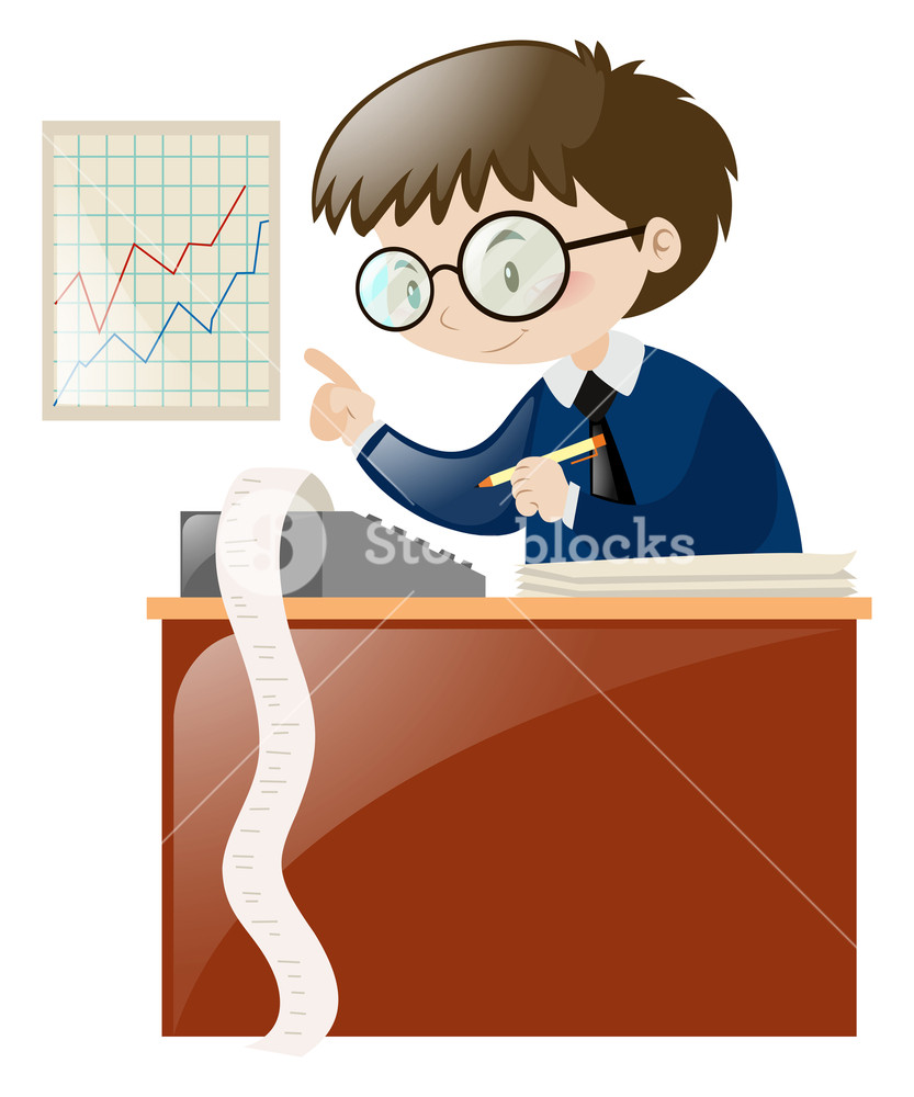 Calculating numbers on illustration. Accountant clipart desk