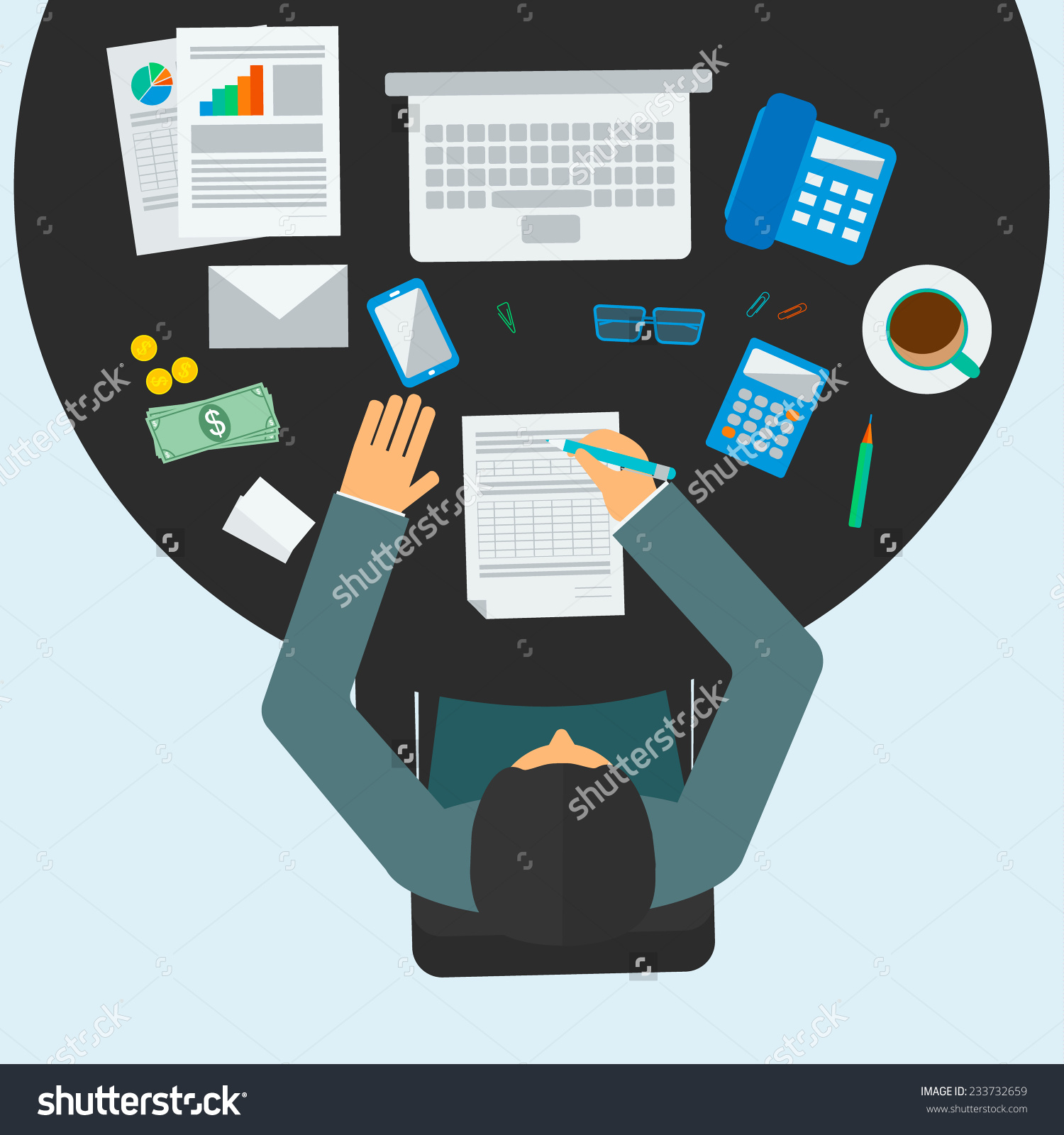 Accountant clipart desk. Manager workplace panda free