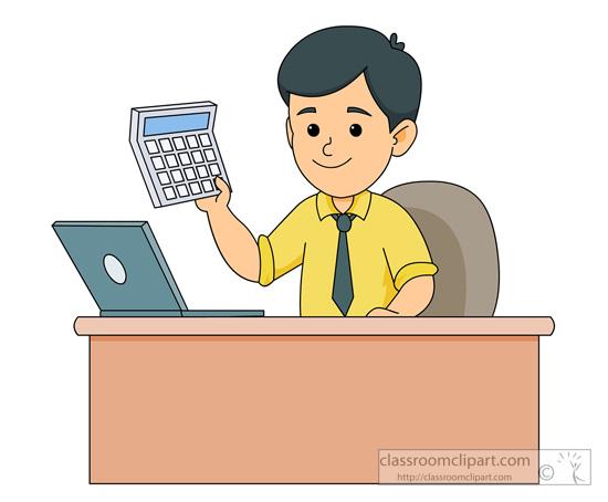 At holding calcuator portal. Accountant clipart desk