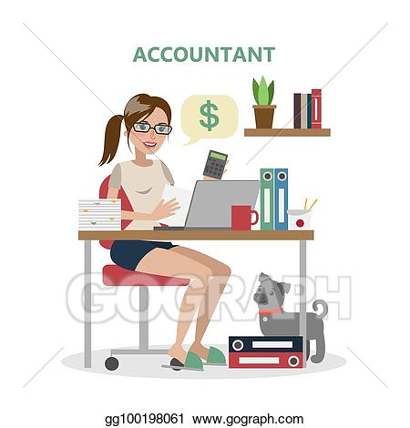 Accountant clipart female accountant. Vector illustration isolated stock