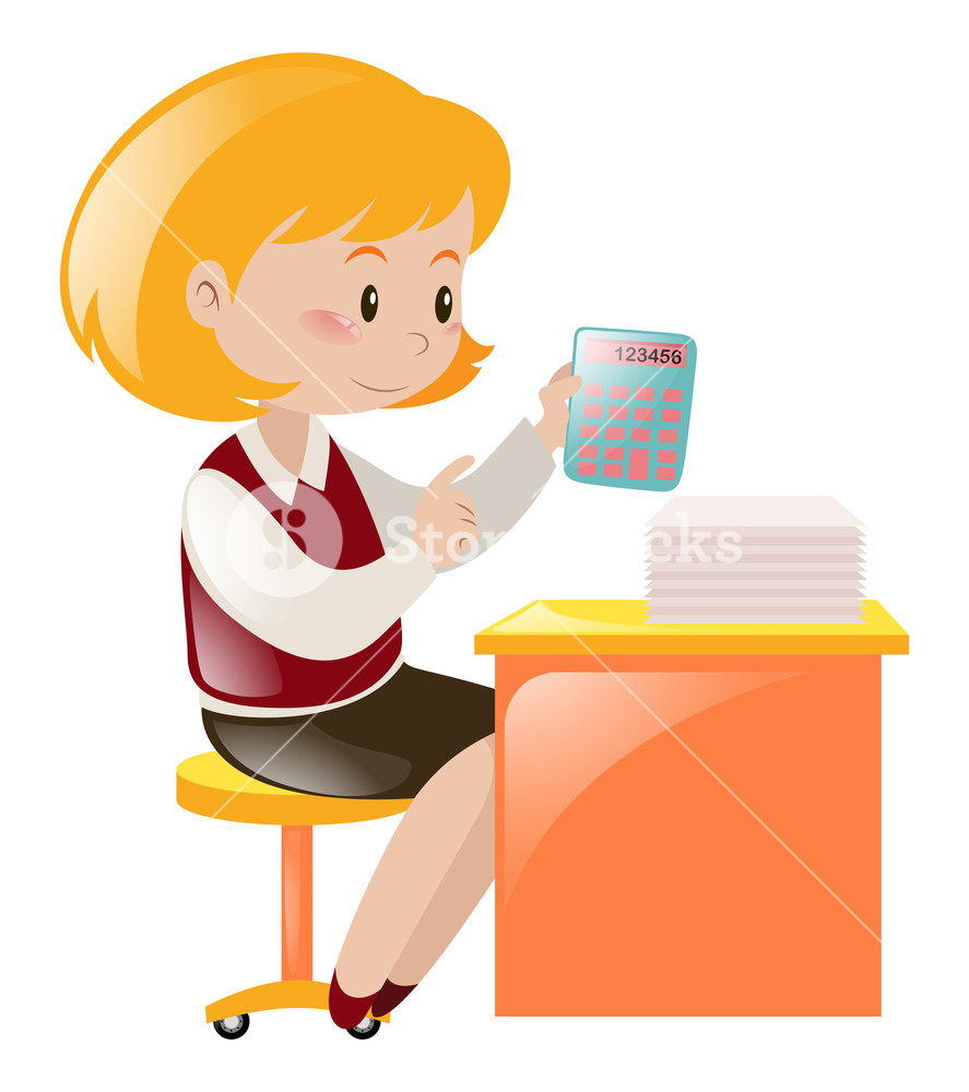 Accountant clipart female accountant. Working on the desk